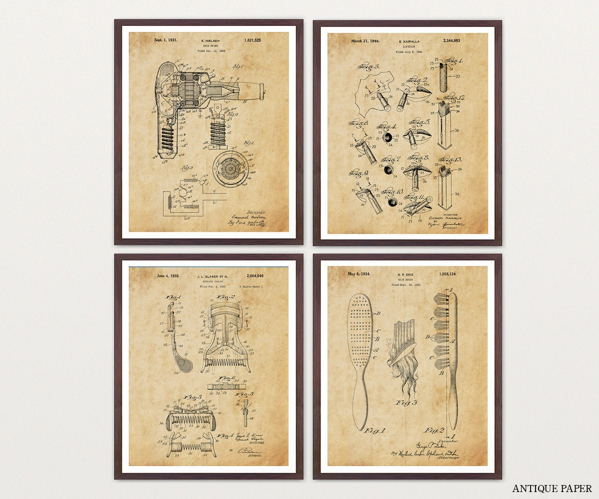 Beauty Poster - Inventions of Beauty - 4 Print Set - Lipstick - Hair ...