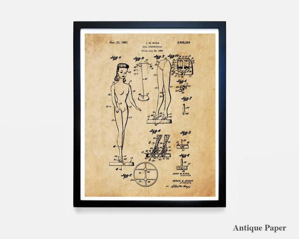 Barbie Patent Art - Barbie Poster - Vintage Barbie - Girls Room ...