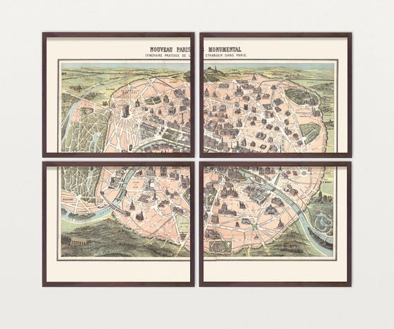 Paris Map - Antique Map - Archival Reproduction - Paris Art - Paris Poster - Paris Wall Art - City Map - France - Paris France - Seinne