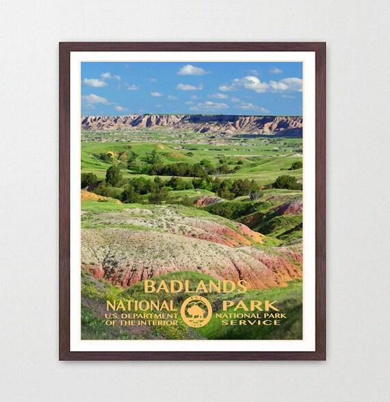 Badlands National Park - Badlands Poster - Badlands National Park Art - National Park Poster - WPA - WPA Poster - WPA Art - Badlands wpa