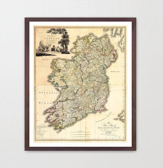 Ireland Map - Ireland  - Ireland Art - Map Decor - Irish Art - Ireland Art - Ireland  Decor - Ireland Wall Art - Old Map