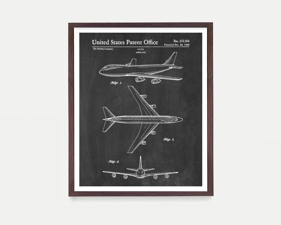 Boeing 747 Airplane Patent Print Wall Art Poster, Aviation Decor, Pilot Gift, Airplane Decor