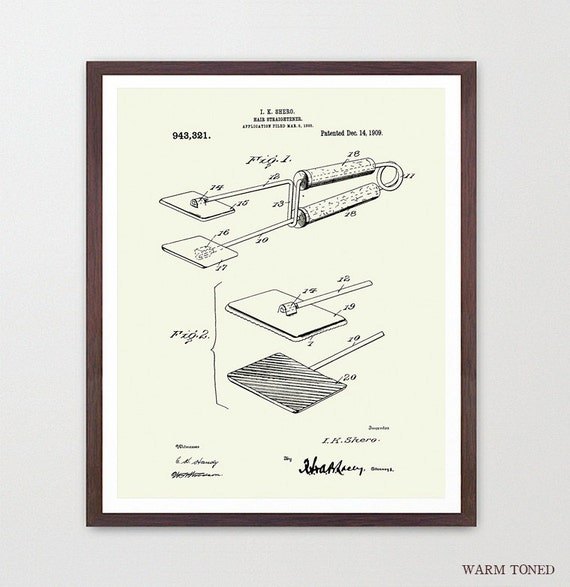 Hair Straightener - Hair Poster - Hair Salon - Hair Art - Beauty Poster - Bathroom Patent - Patent - Fashion Inspiration - Bathroom Art