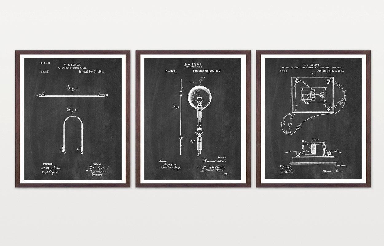 Edison S Light Bulb Edison Patent Edison Patent Poster Light