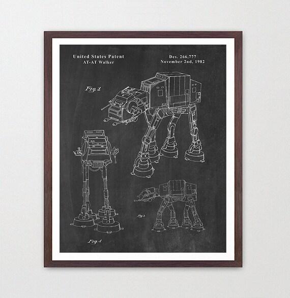 Star Wars - AT-AT Walker - Star Wars Patent - Star Wars Poster - Star Wars Art - Imperial - At At Patent - Star Wars Wall Art - SW Movie
