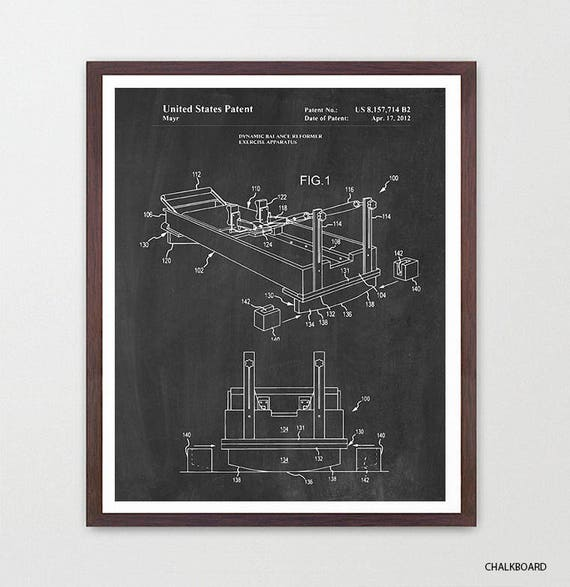 Pilates Reformer Patent Art - Pilates Poster - Pilates Decor - Pilates Studio - Exercise - Exercise Poster - Exercise Machine - Gym Wall Art