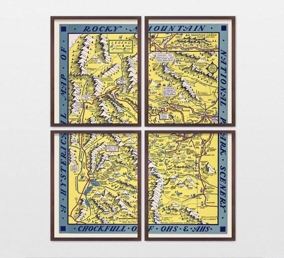 Rocky Mountain National Park Map - Antique Map - Archival Reproduction - Rocky Mountain Art - Rocky Mountain Poster - National Park Art
