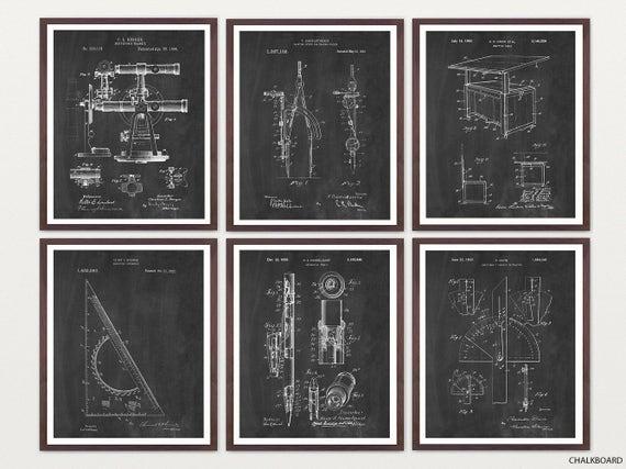 Architect - Architect Tool Patent Art - Drafting - Draftsman - Designer - Architecture - Architectural Tools - Architect Poster - Compass