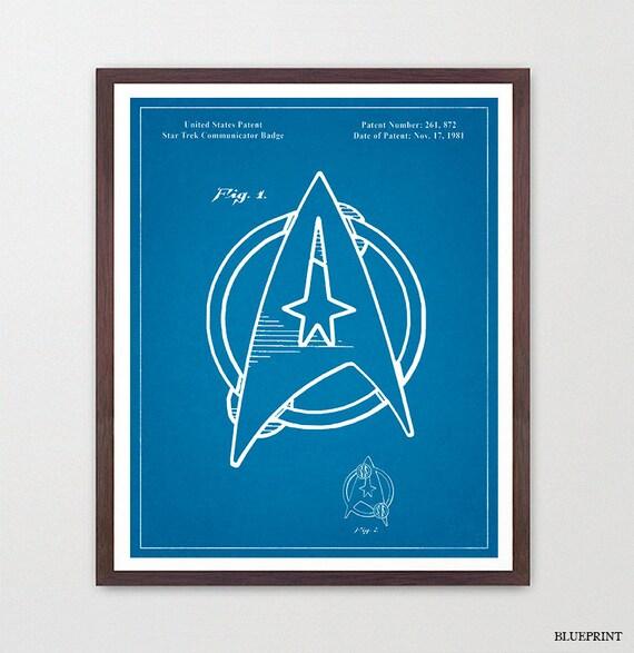 Star Trek Patent Poster - Star Trek Enterprise - Enterprise Patent - Sci Fi Art - Star Trek Art - Star Trek Wall Art - Star Trek Decor