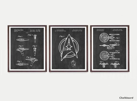 Star Trek Patent Art, Star Trek Art , Star Trek Enterprise, Star Trek Poster, Star Trek Wall Art, Star Trek Gift, Captain Kirk, Sci Fi Art