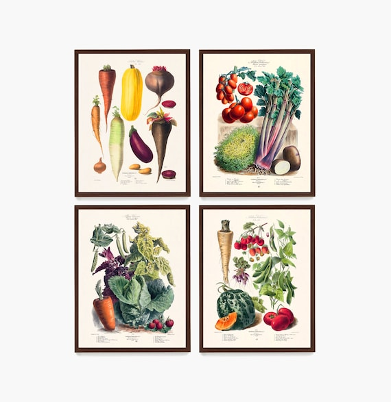 Vegetable Poster, Kitchen Decor, Food Poster, French Cooking Poster, Vegetable Art, Kitchen Remodel, Cooking Decor, Chef Gift, Restaurant