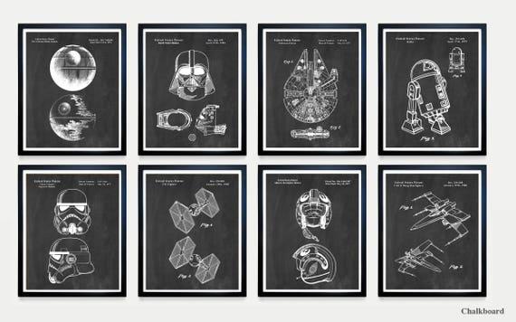 Star Wars Patent Art - The DARK SIDE vs the FORCE- Death Star Vader - Falcon - Star Wars Wall Art - Star Wars Art - Star Wars Poster - R2D2