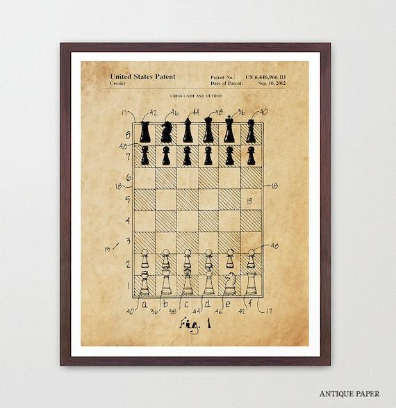Chess Board Patent - Chess Art - Chess Patent - Chess Poster - Chess Wall Art - Chess Master - Grand Master - Chess Club - Chess Lover