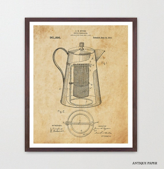 Coffee Patent - Percolator - Kitchen Patent Poster - Kitchen Poster - Coffee Art - Patent Print - Patent Poster - Coffee Patent - Coffee
