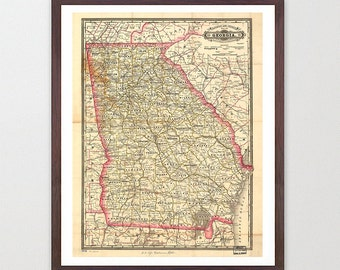 Georgia Map - GA Map Art - Map Decor - State Map - Georgia Art - Georgia Decor - Georgia Wall Art - Old Map - Map Wall Decor - Georgia