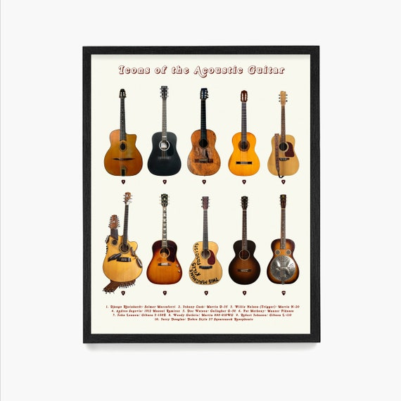 Guitar Poster, Icons of the Acoustic Guitar, History of Rock n Roll, Acoustic Guitar Art, Music Wall Art, Guitar Wall Art, Guitar Gift