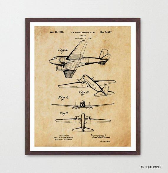Airplane Patent Art - Douglas Aircraft - Airplane Art - Aviation Patent - Aviation Poster - Airplane Poster - World War 2 Plane