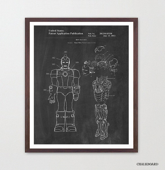 Iron Man Patent Poster - Iron Man Art - Iron Man Poster - Iron Man Patent - Marvel Art - Avengers Poster - Iron Man Wall Art - Superhero Art