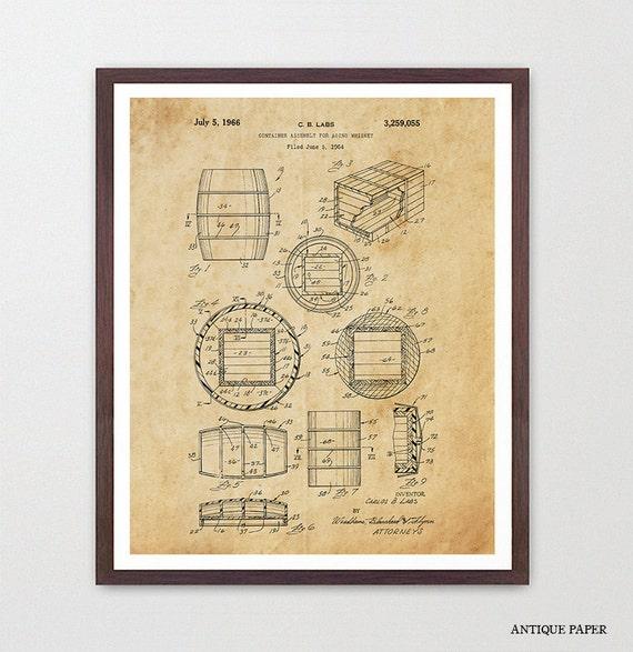 Whiskey Poster - Whiskey Barrell - Whiskey Art - Whiskey Decor - Whiskey Patent - Whiskey Wall Art - Bar Room - Brewery - Liquor - Bar Art