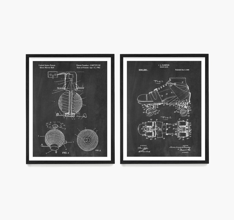 Roller Disco Patent Poster Roller Skate Patent Disco Wall image 0
