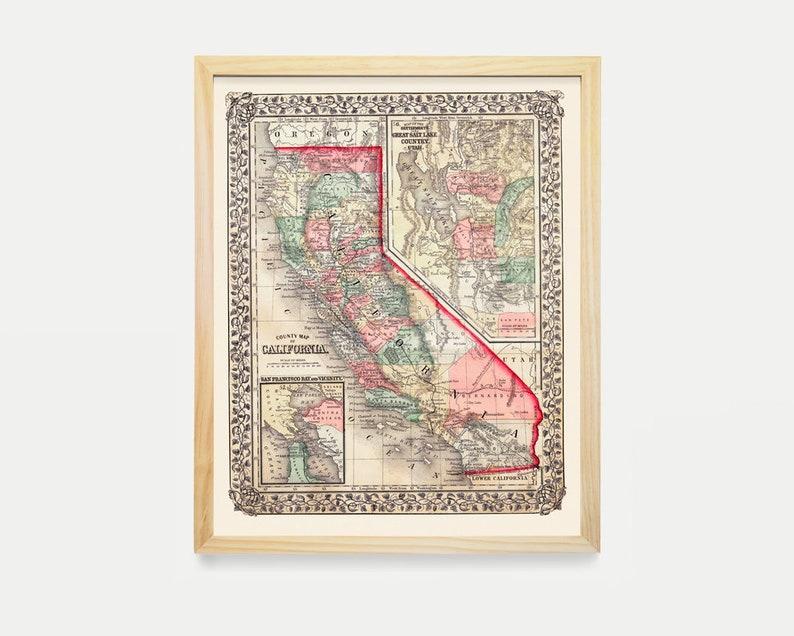 California Map California Karte Kunst Jahrgang California | Etsy on
