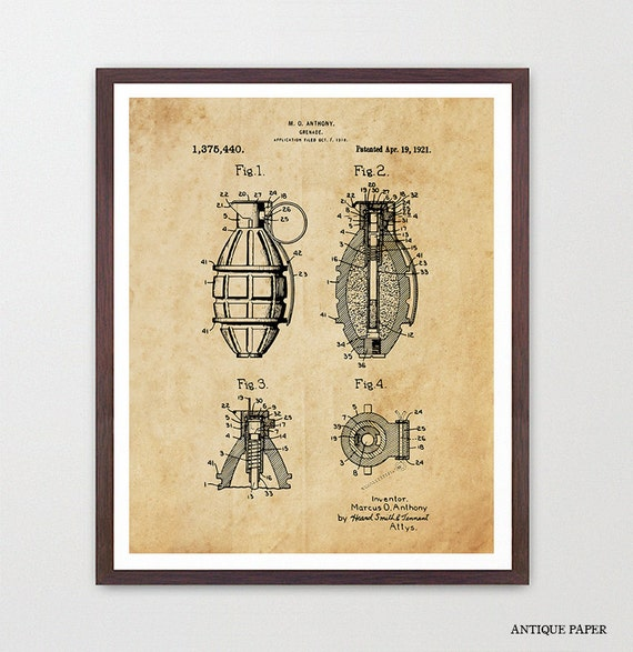Grenade - Grenade Patent - Grenade Art - Grenade Poster - Military - Military Patent - Military Art - Army - Armed Forces - Soldier