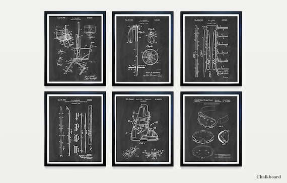 Ski Patent Posters - Skiing Art - Skiing Wall Art - Skiing Patent - Ski Boot - Ski Pole - Vintage Skis - Ski Decor - Skiing Patent - Ski Art