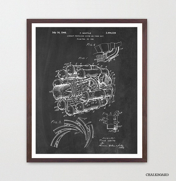 Airplane Patent Art - Jet Engine - Airplane Art - Aviation Patent - Aviation Poster - Airplane Poster - Jet Engine Patent Art