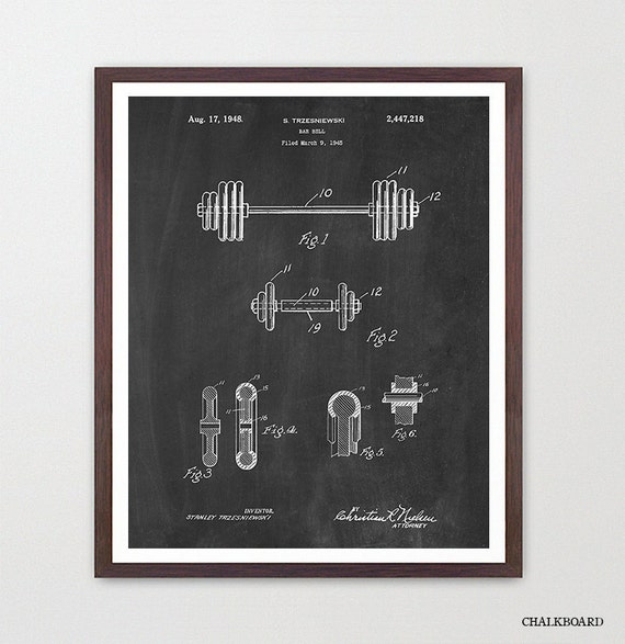 Dumbbell Patent Print - Fitness Poster - Weight Lifting Poster - Gym Poster - Body Building Poster - Fitness Art - Workout Poster - Weights