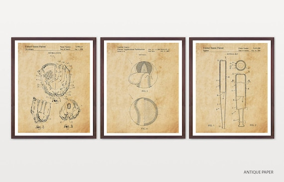 Softball Patent Art - Softball Art - Softball Poster - Softball Decor - Softball Wall Art - Softball Glove - Softball Bat - Softball Team