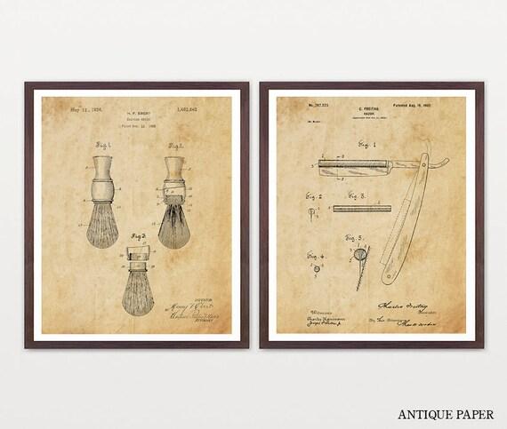Shaving Inventions - Shaving Patent - Men's Bathroom Art - Men's Bathroom Wall Art - Razor Patent - Shaving Brush Patent - Mens Art -Man Art