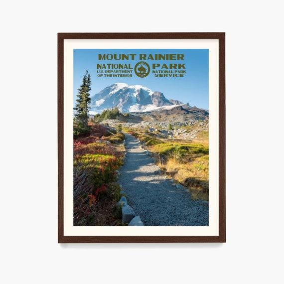 Mount Rainier National Park Poster, National Park Wall Art, WPA Poster, Washington State Art, Washington Home, National Park Gift