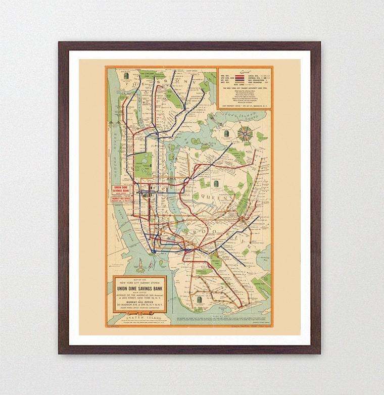 New York City Subway Map - Subway Map Art - Map Decor - New York Map ...
