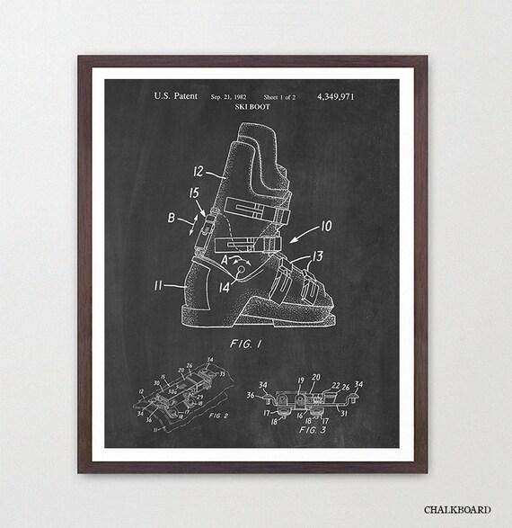 Ski Boot Patent - Ski Patent - Ski Art - Skiing Art - Ski Poster - Ski Equipment - Skiing Wall Art - Ski Wall Art - Ski Decor - Patent Art