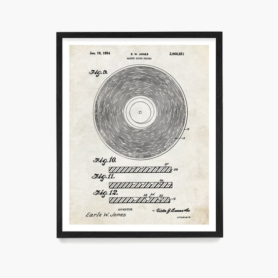 Vinyl Record Patent Poster, Stereo Patent Poster, Turntable Art,  Vinyl Record Art, Vinyl Poster, Record Collector Gift, Vinyl Gift