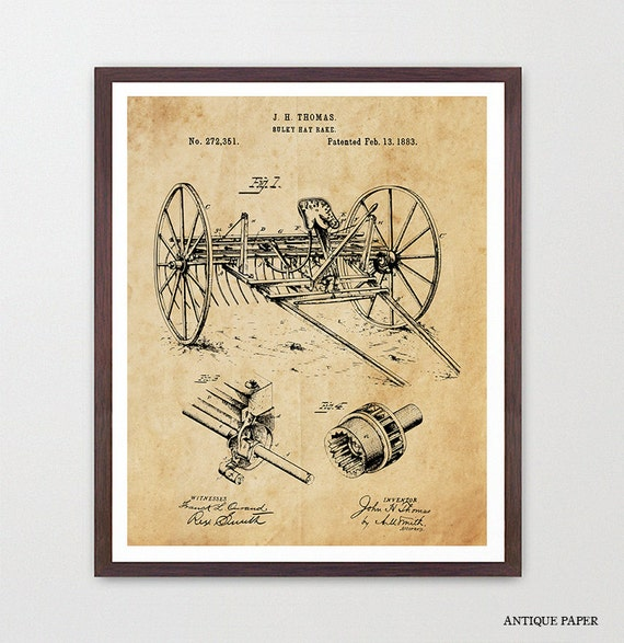 Farm Patent  - Farm - Farming Art - Old Tractor - Plow - Plow Patent - Plow Art - Farm Decor - Farm Wall Art - Barn - Garden - Rural Art