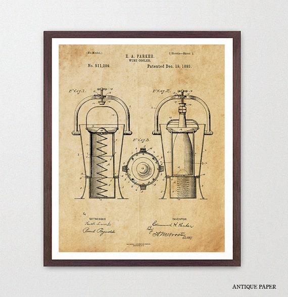 Wine Poster - Wine Art - Wine Cooler Patent - Wine Decor - Wine Wall Art - White Wine - Wine Lover - Wine Cellar - Kitchen Wall Art