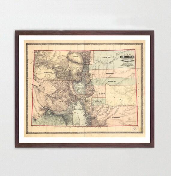 Colorado Map -CO Map - Map Art - Map Decor - State Map - Colorado Art - Colorado Decor - Springs - Denver Map City Map - Colorado Poster