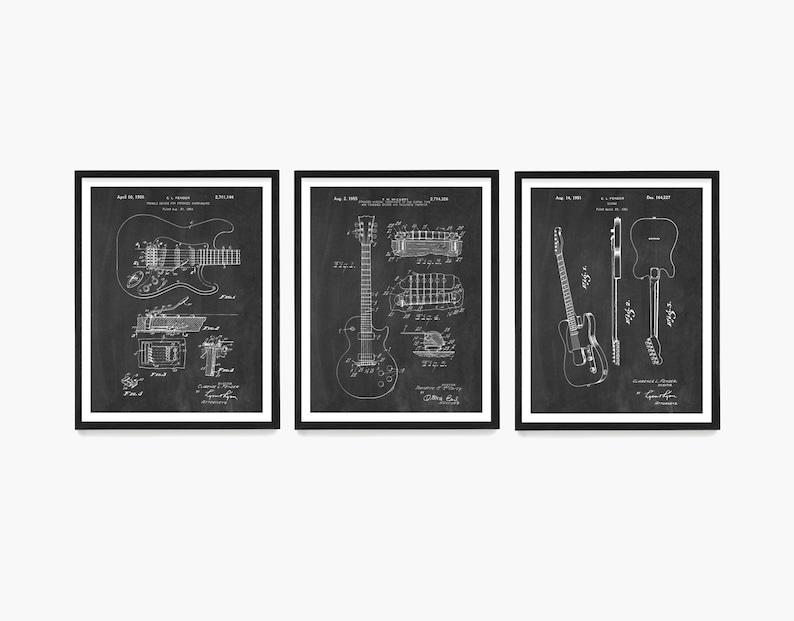 Guitar Patent Poster Guitar Gift Electric Guitar Patent Chalkboard