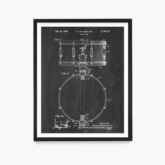 Snare Drum Patent Print, Drum Poster, Drummer Gift, Drum Patent Art, Music Wall Art, Musician, Percussionist, Music Patent, Instrument