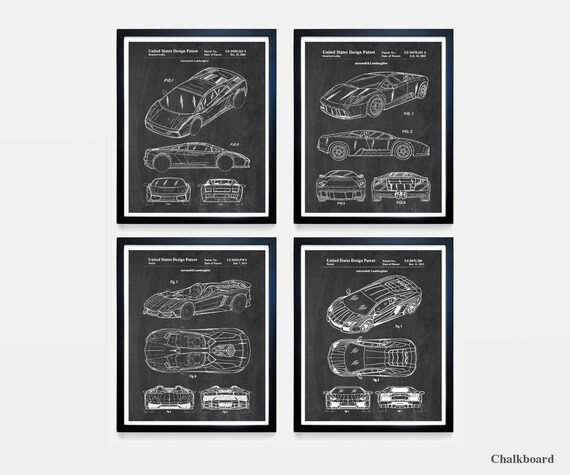 Lamborghini Patent Art - Lamborghini Poster - Lamborghini Decor - Automobile - Car - Car Poster - Sports Car - Car Patent - Race Car -Racing
