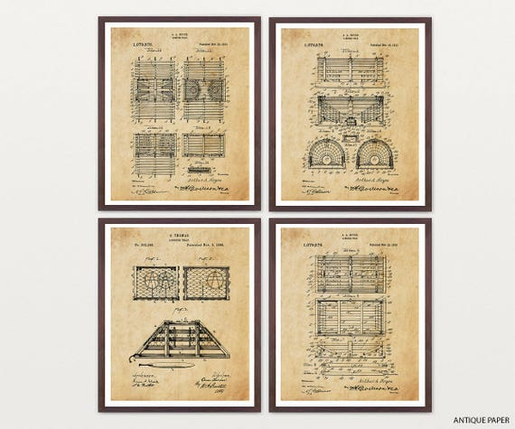 Lobster Trap Patent Art - Lobster Art - Lobster Patent - Lobster Poster - Lobster Decor - Ocean - Nautical Art - Fishing Art - Lobster Print