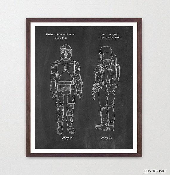 Star Wars - Boba Fett - Star Wars Patent - Star Wars Poster - Star Wars Art - Boba Fett Patent - Star Wars Wall Art - Boba Fett Art - Gift