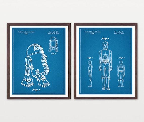 Star Wars Patent, R2D2, C3PO,  R2D2 Patent, Star Wars Art, R2 Print,  R2D2 Poster,  Star Wars Poster,  Sci Fi Poster,  Sci Fi Gift