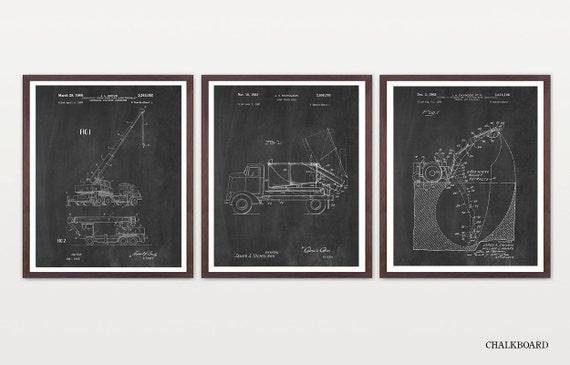 Construction Art - Construction Patent - Construction Patent Poster - Construction Worker - Builder - Building - Building Patent - Crane