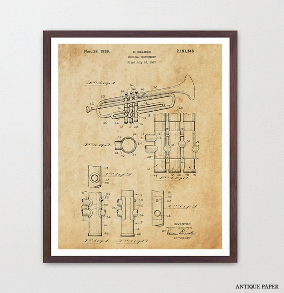 Trumpet - Trumpet Poster - Horn - Music Inspiration - Music Poster - Band Art - Marching Band - Patent Poster - Jazz Trumpet Patent - Music