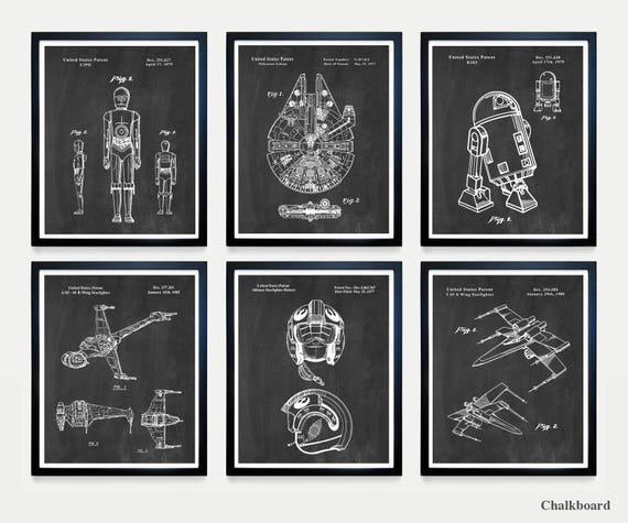 Star Wars Patent Art - The FORCE - Millennium Falcon - X Wing - R2D2 - C3PO - Star Wars Wall Art - Star Wars Art - Star Wars Poster