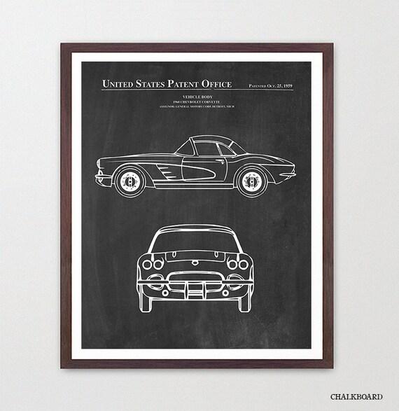 Corvette Blueprint - Corvette Poster - Corvette Patent Art - 1960 - Corvette - Corvette Art - Corvette Wall Art - Sports Car Art - Boys Room