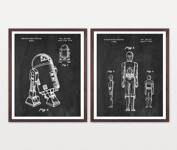 Star Wars - R2D2 - C3PO  Star Wars Patent  R2D2 Patent  Star Wars Art - R2 Print  R2D2 Poster  Star Wars Poster  Sci Fi Poster  Sci Fi Movie