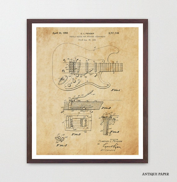 Guitar Poster - Fender Guitar Art - Fender - Electric Guitar - Music Poster - Patent Print - Patent Poster - Guitar Hero - Rock n Roll
